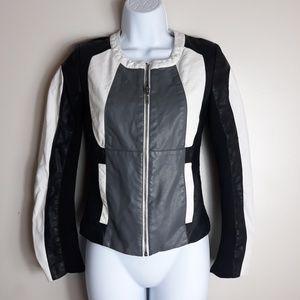 XOXO| Colorblock Faux Leather Moto Jacket